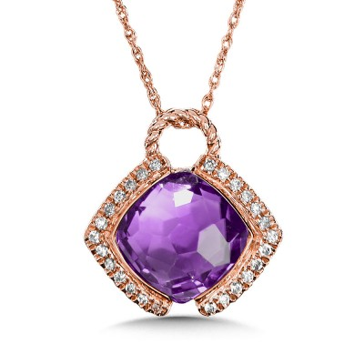 AMETHYST & DIAMOND LAYERING PENDANT IN 14K ROSE GOLD